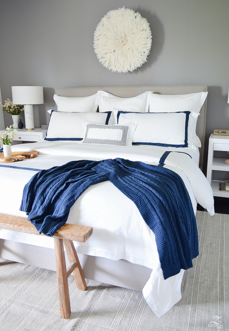 Review of Boll & Branch Sheets White Hotel Bedding with Navy band Navy cable knit throw softest sheets the best bedding ZDesign At Home Apartment bedroom navy and white banded duvet-5