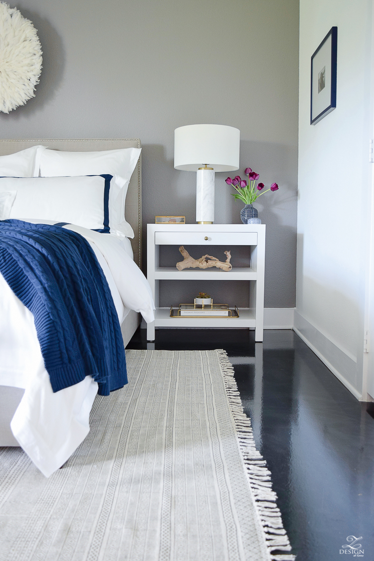Review of Boll & Branch Sheets White Hotel Bedding with Navy band Navy cable knit throw softest sheets the best bedding ZDesign At Home Apartment bedroom navy and white banded duvet-7