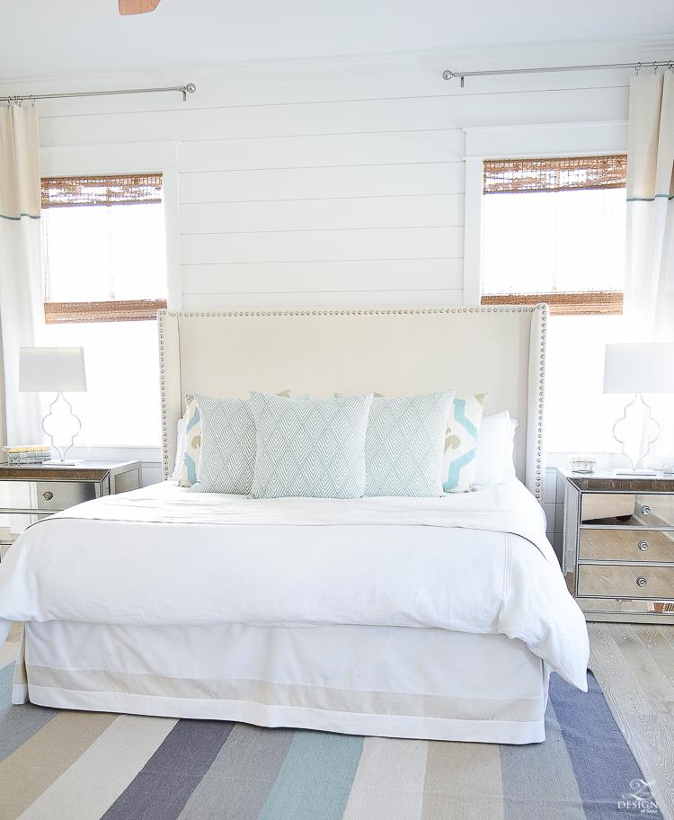 beach house bedroom decor coastal cottage bedroom Sanders Beach Rentals in Watercolor FL beachy bedroom design striped beachy rug beachy bedding-1