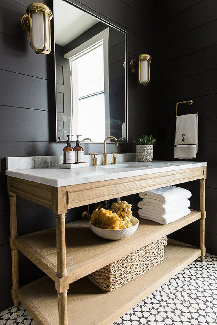 Custom Home Build Journey Inspiration Building a custom home in houston, texas bathroom with black shiplap by Studio McGee
