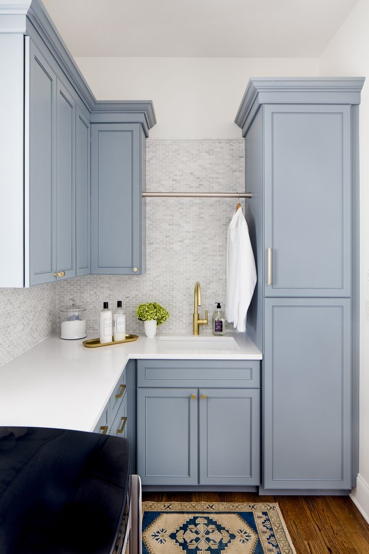 blue cabinets in laundry room Stephanie Gamble Interiors