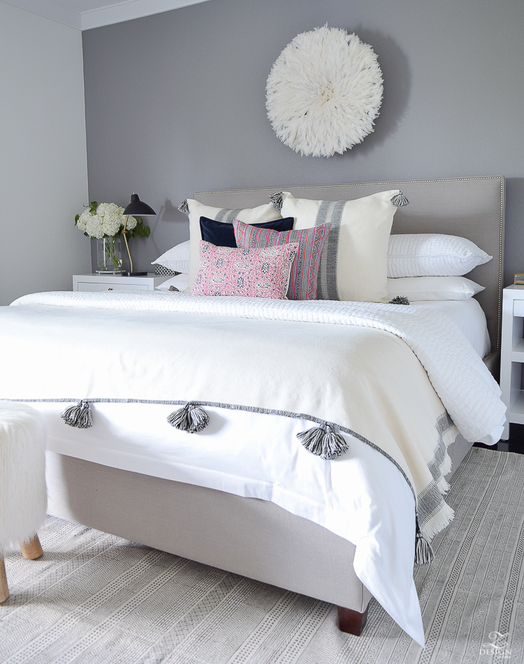 Fall Bedroom Tour Black And White Pom Pom Throw And