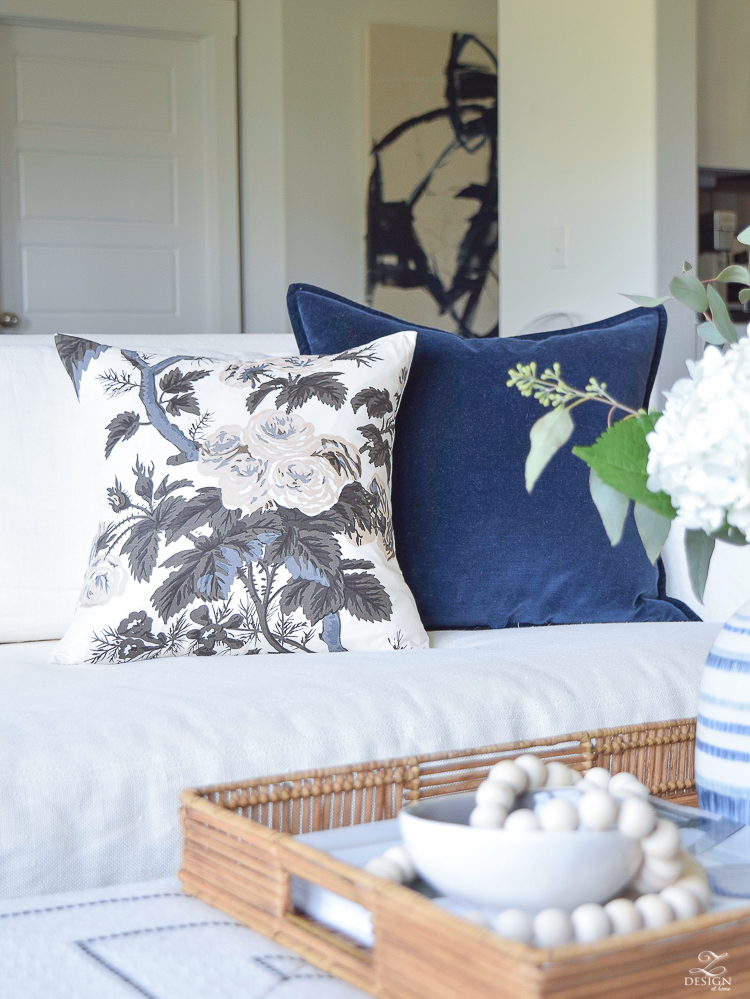 Fall Home Tour Holly Hock Pillow Cover navy velvet pillow cover boho rattan tray washed velvet pillow in navy