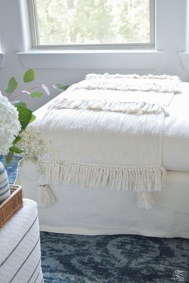 Fall Home tour natural fringe and tassel throw distsressed vintage inspired navy blue rug-4