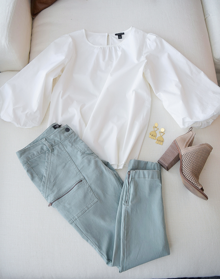 The best cargo zipper pants and poof sleeve white blouse