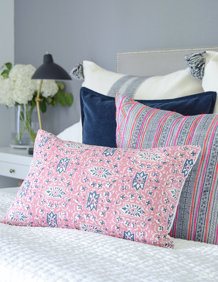 ZDesignAtHome Fall Home Tour pink and blue cordoba pillow feather headress black and white tassel pillow and throw-5