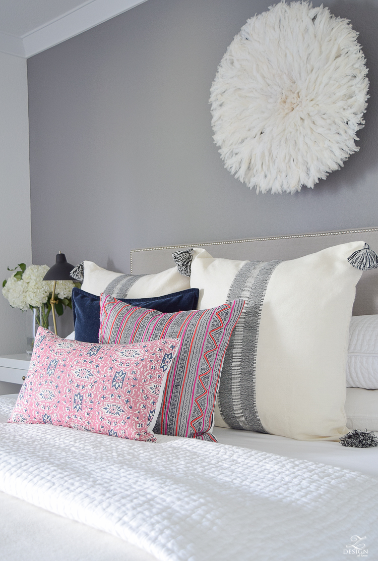 ZDesignAtHome Fall Home Tour pink and blue cordoba pillow feather headress black and white tassel pillow and throw-6