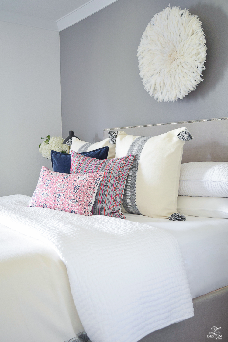 ZDesignAtHome Fall Home Tour pink and blue cordoba pillow feather headress black and white tassel pillow and throw-7