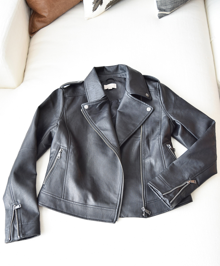 The perfect black faux leather jacket for this fall