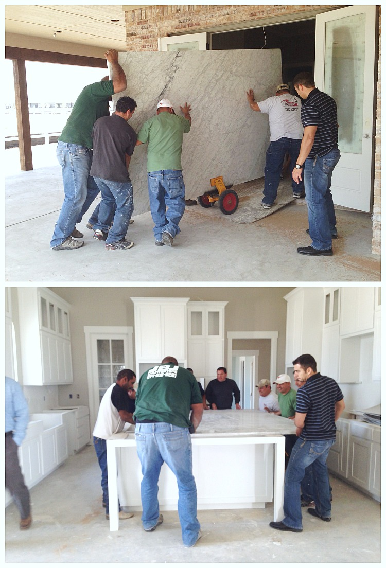 The Pros and Cons of Marble + Large Marble Slab Being Installed
