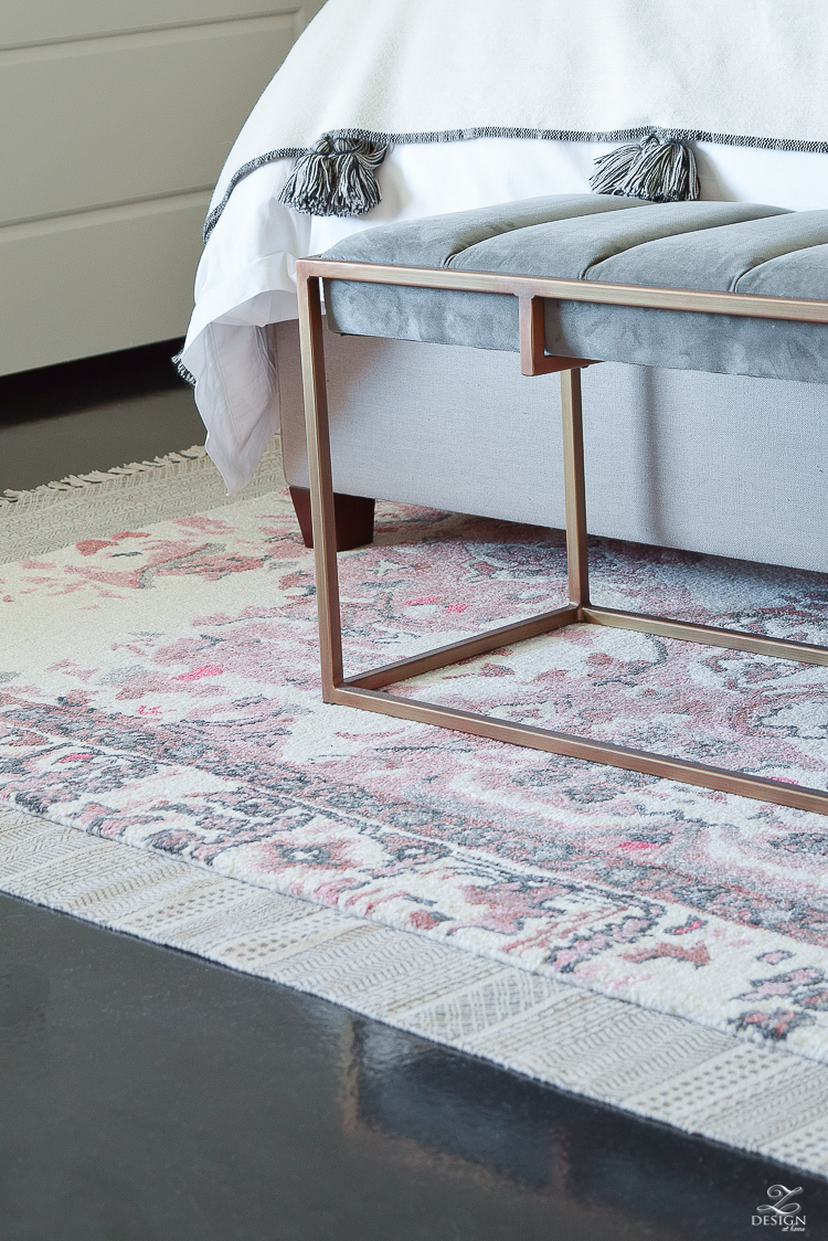 Vintage Inspired Distressed Motif Rug in blush and gray + modern gray velvet bench with brass legs