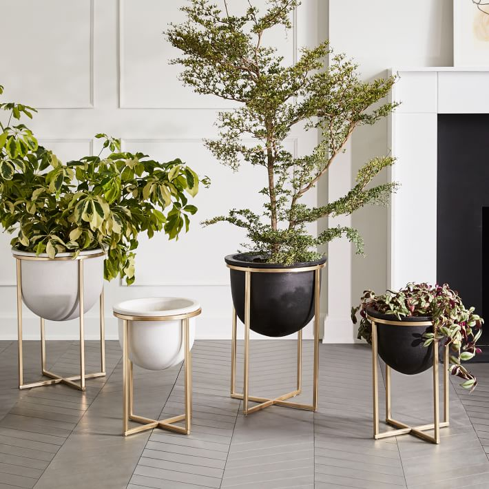 Concrete modern metal planters with brass legs
