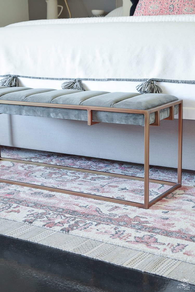 Vintage Inspired Distressed Motif Rug in blush and gray + modern gray bench with brass legs