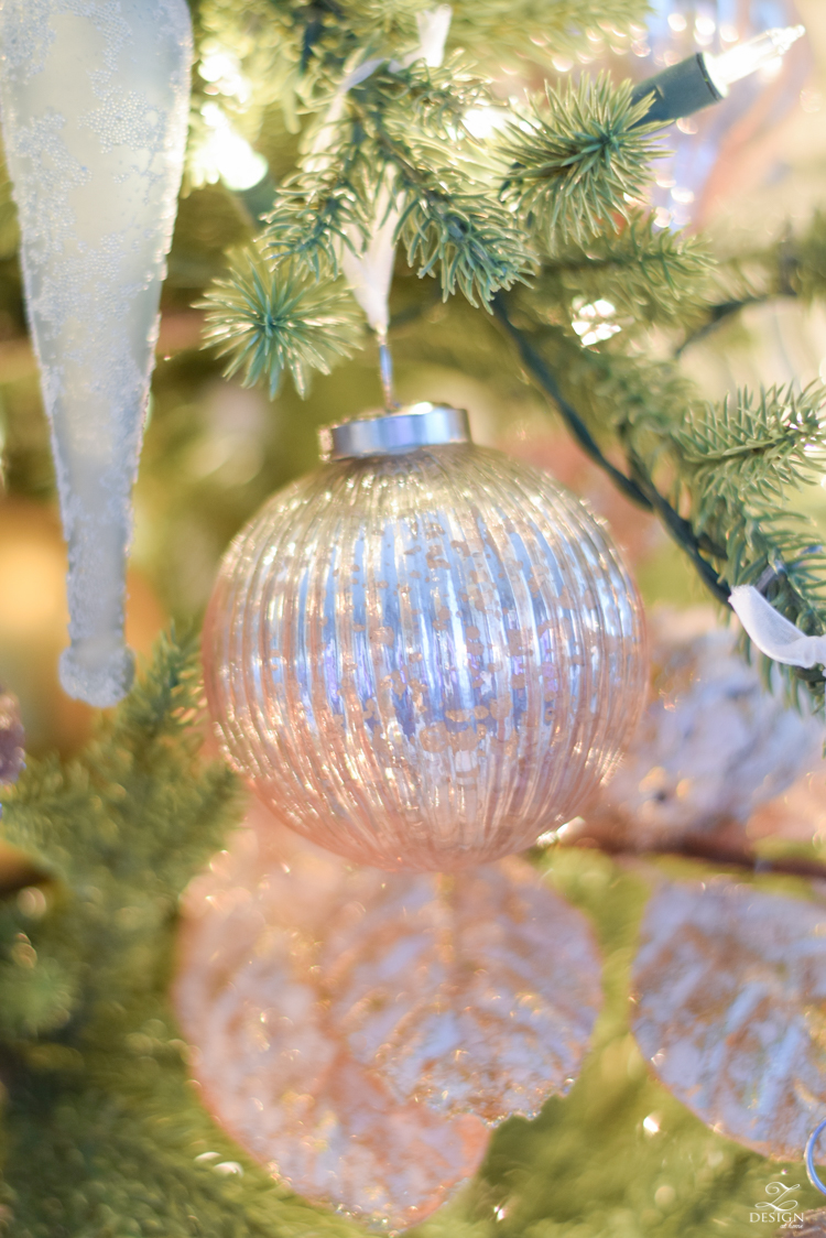 12 bloggers of Christmas with Balsam Hill - how to decorate a mixed metal tree - pink ombre christmas ornament