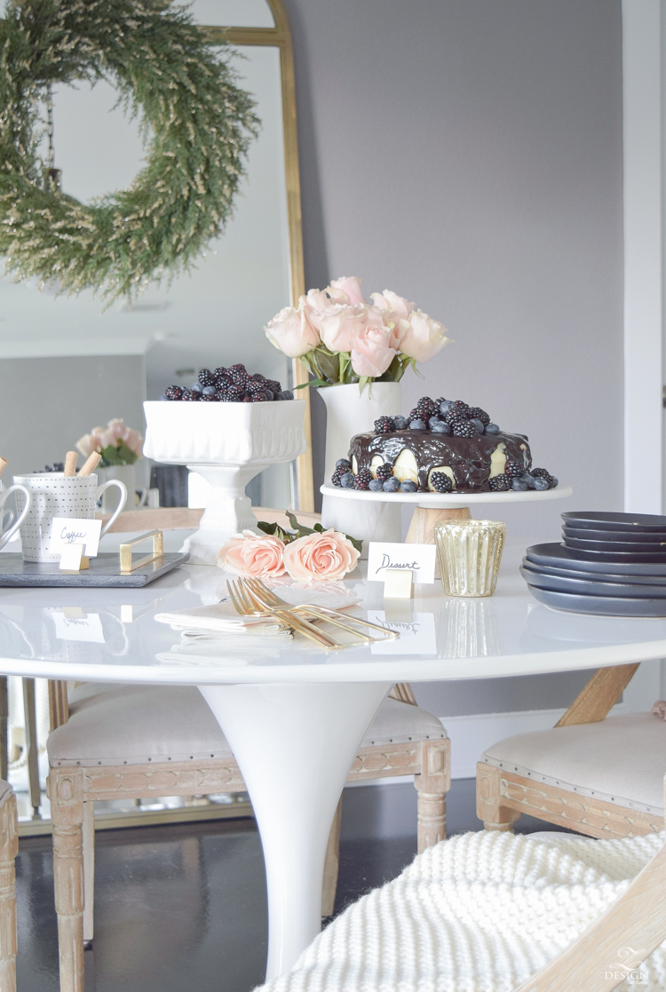 How to dress up a store bought cake with black, white and blush details for stress free holiday entertaining
