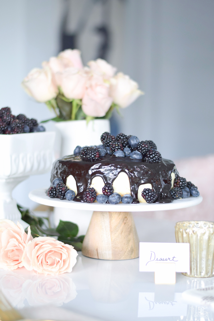 How to dress up a store bought cake with chocolate fudge and fruit + marble cake stand = Fake It Don't Bake It!!