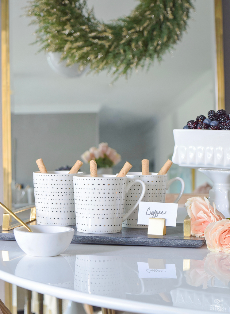 How to decorate a store bought cake for stress free holiday hosting + black and blush dessert bar