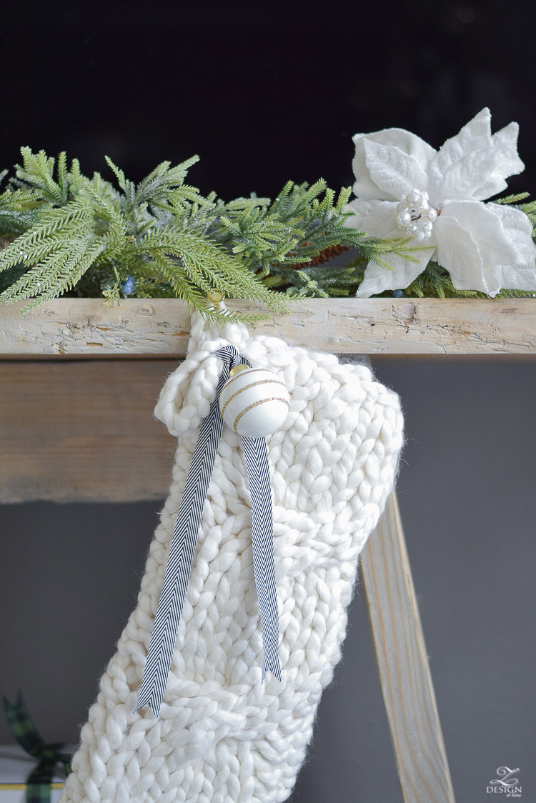 Oversized cable knit stocking - ZDesign At Home Christmas Living Room Tour