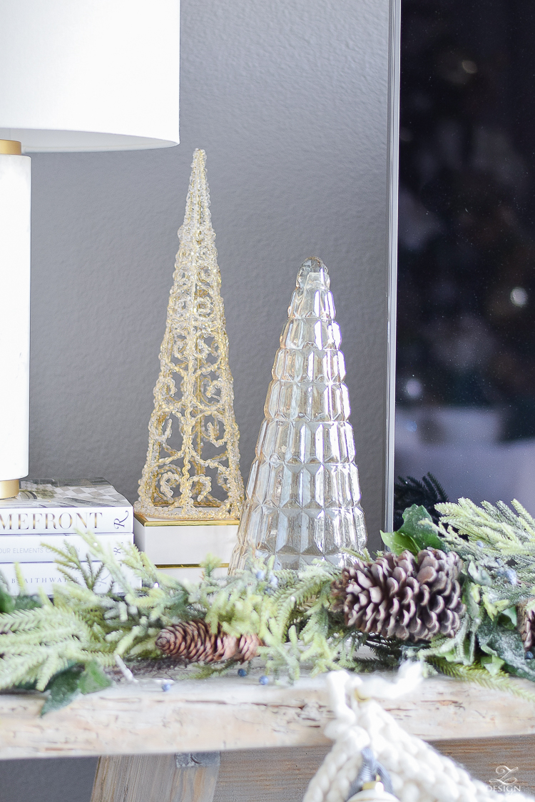 Decorative glass trees or Christmas - a christmas living room tour - boho chic