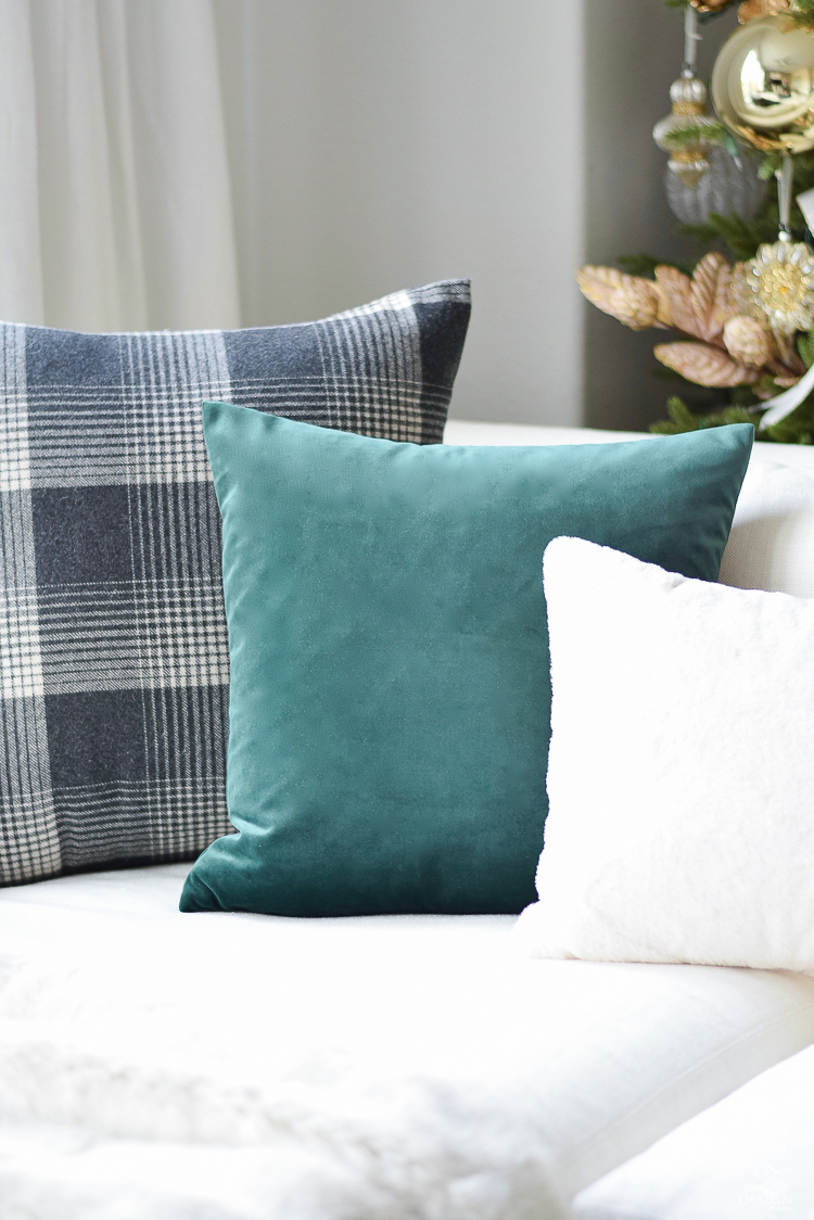 Beautiful Green velvet pillow with gold zipper - winter pillow collection