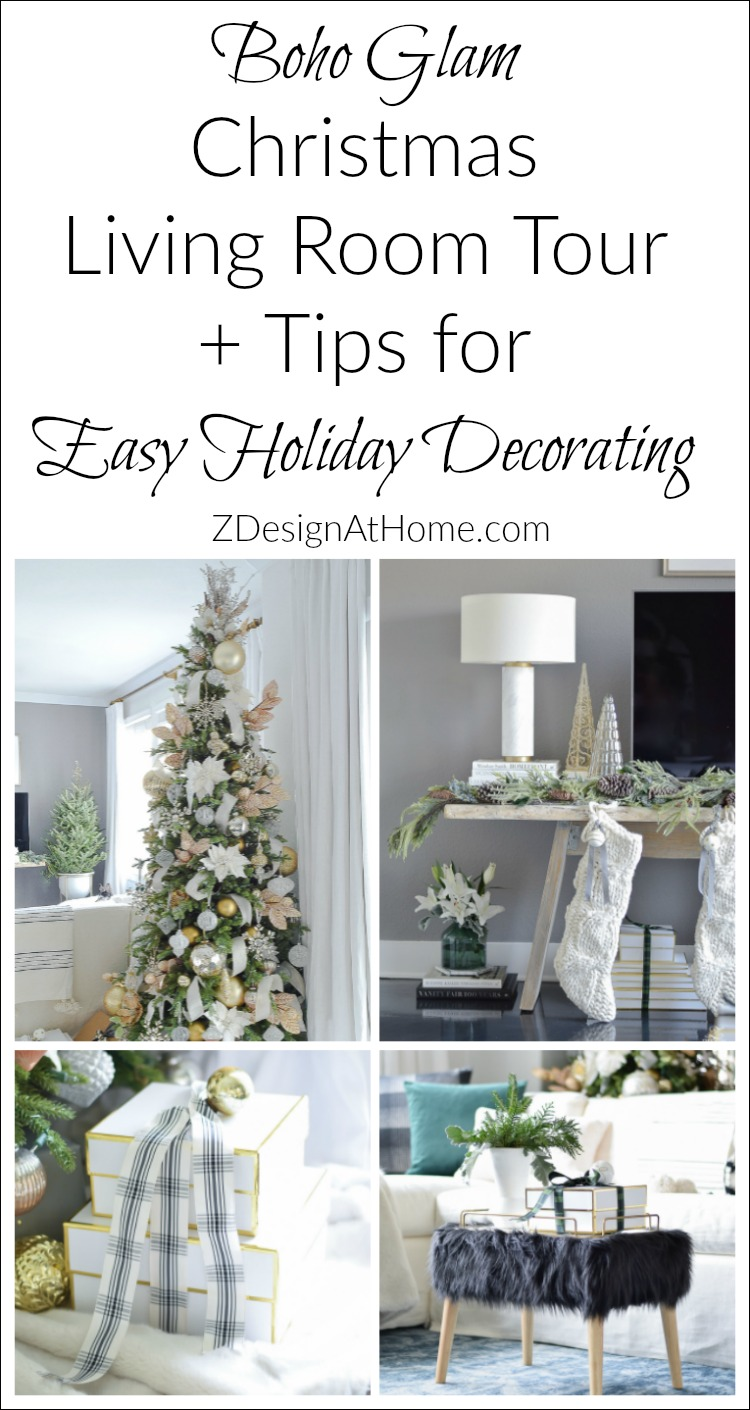 ZDesign At Home Boho Glam Christmas Living Room + Tips for Easy Holiday Decorating