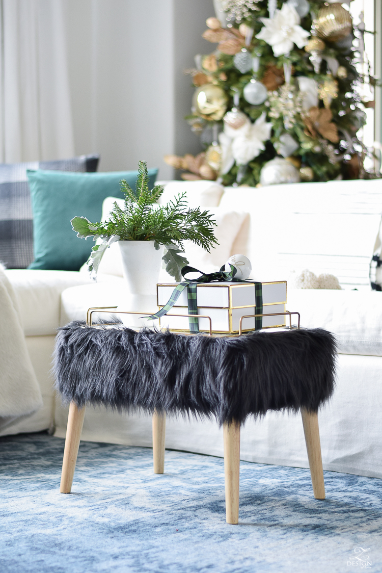 Christmas Living Room Tour with ZDesign At Home - Faux fur mid-mod stool
