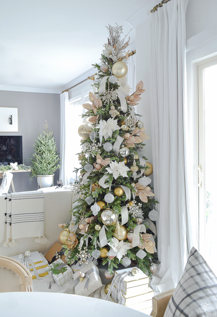 Glam christmas living room tour tips for easy holiday - Christmas tree in living room ...