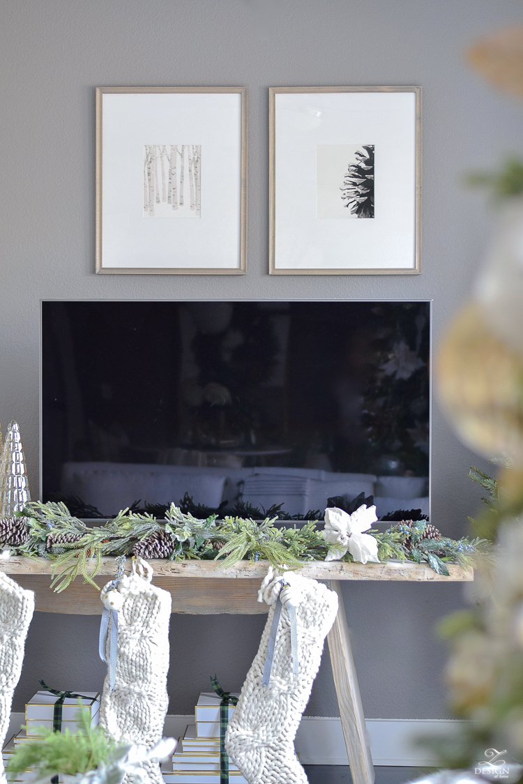 Minted art for Christmas - Boho Glam holiday living room tour