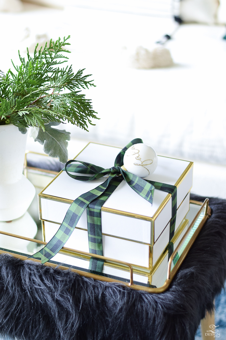 Zdesign At Home Christmas Lving Room Tour - Black and Green plaid ribbon