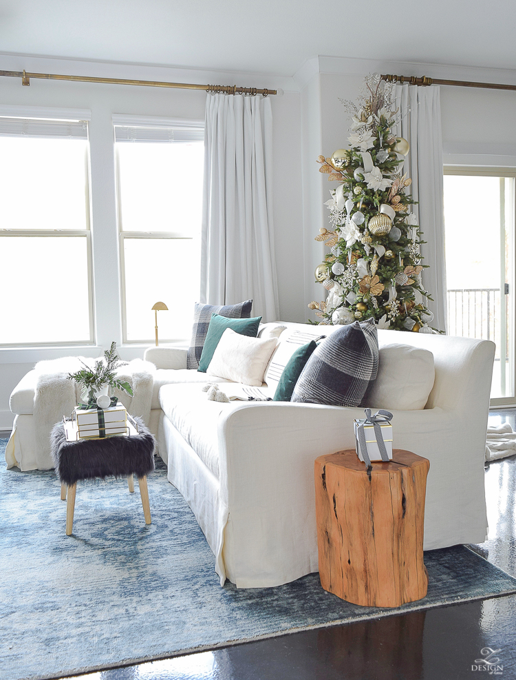ZDesign At Home Christmas Living Room Tour with a Glam Boho Chic vibe