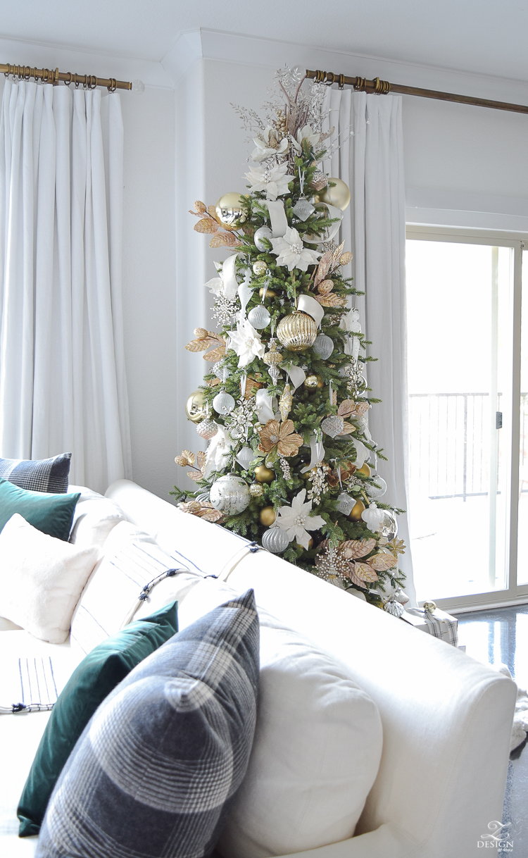 Modern Christmas Tree in a Boho Chic Christmas Living Room Tour