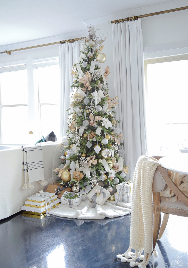 White and gold glam christmas tree