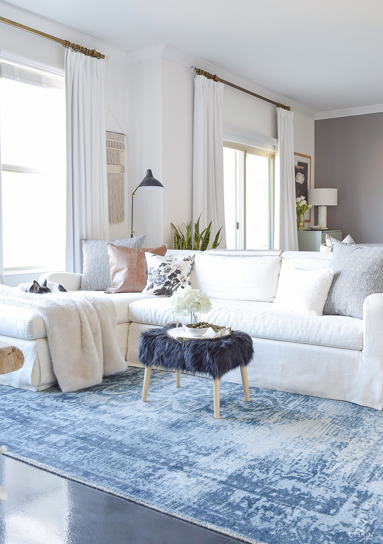 Boho Chic Living Room Zdesign At Home Vintage Navy Rug