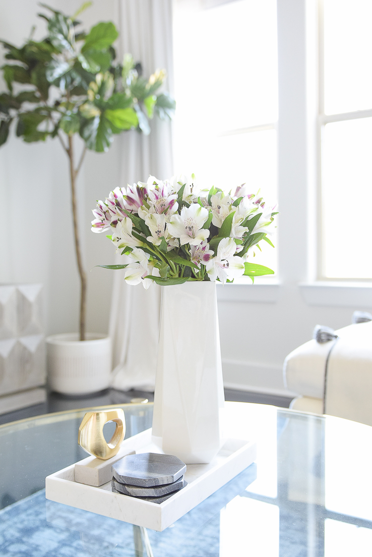 Decked & Styled Spring Tour - Coffee Table decor and fresh flowers (alstroemeria)