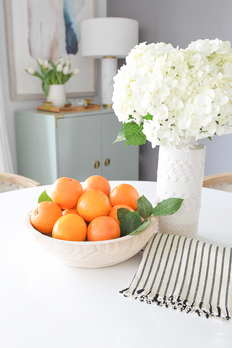 Decked & Styled Spring Tour - Disply of oranges in Paulownia wooden bowl