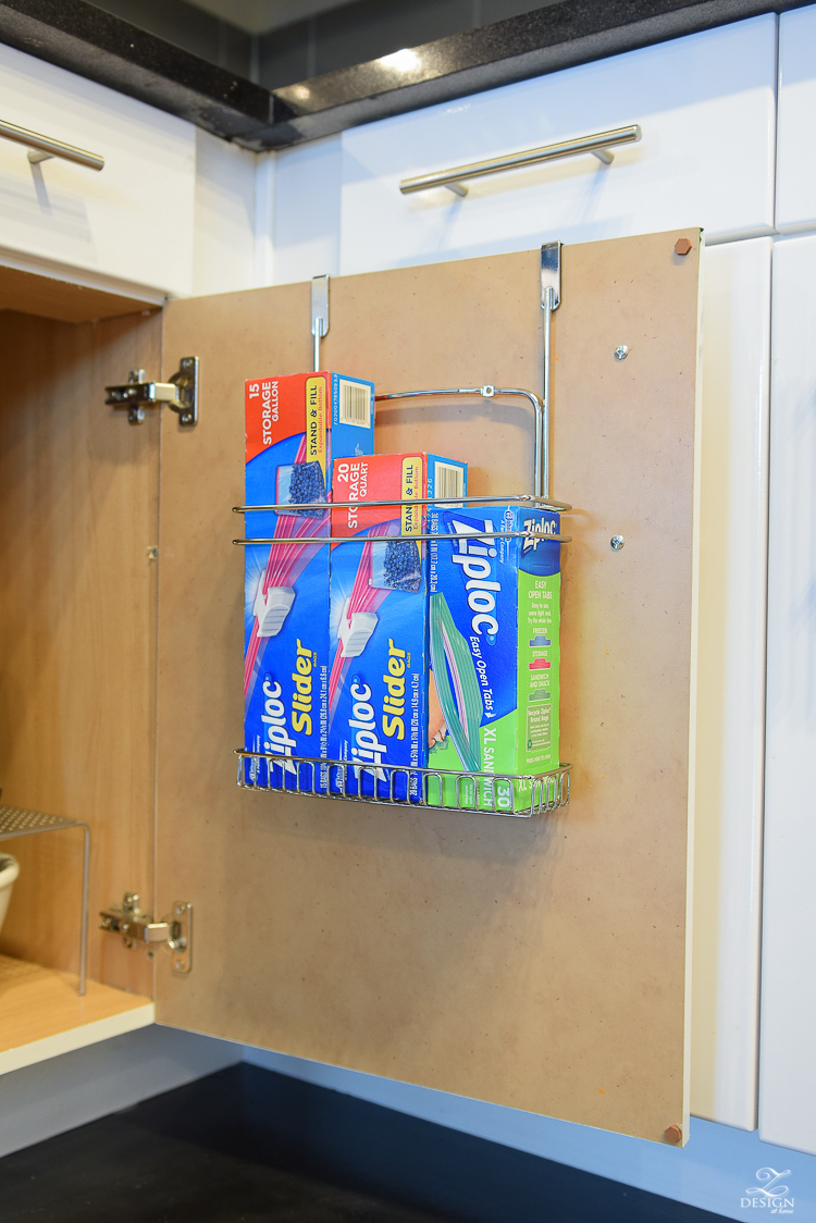 Over cabinet organizer for aluminum foil, zip lock bags, etc