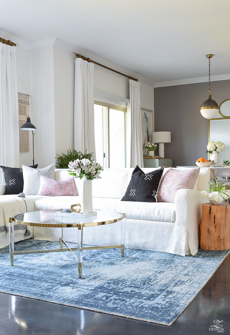 Transitional Modern Spring Living Room Tour - Decked & Styled Spring Tour