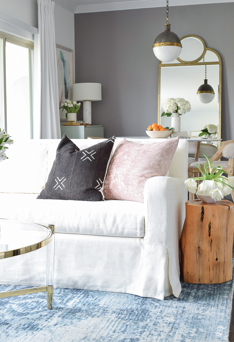 Decked & Style Spring Blog Hop - a transitional spring living room/dining room with spring updates