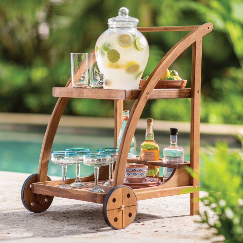Indoor outdoor acacia wood serving bar cart