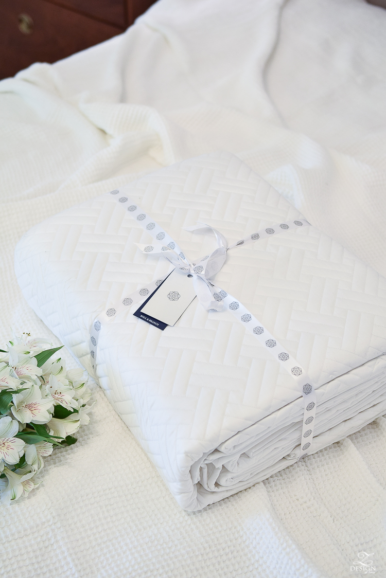 The best, softest organic bedding - white basket weave quilt and shams