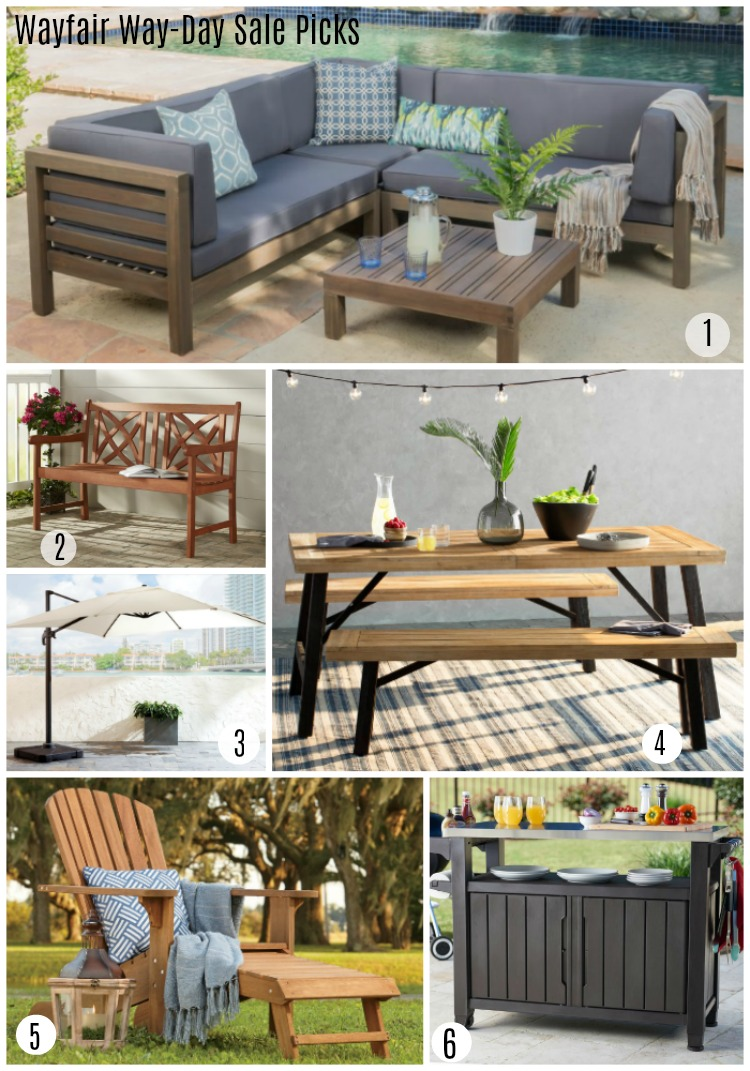Wayfair Way-Day Top Picks for Furniture -Adirondack chair, outdoor sofas, dining tables, umbrellas, rolling caster bar cart, garden bench