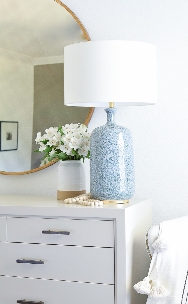 Beautiful blue lamps with brass and gold accents, white linen shade