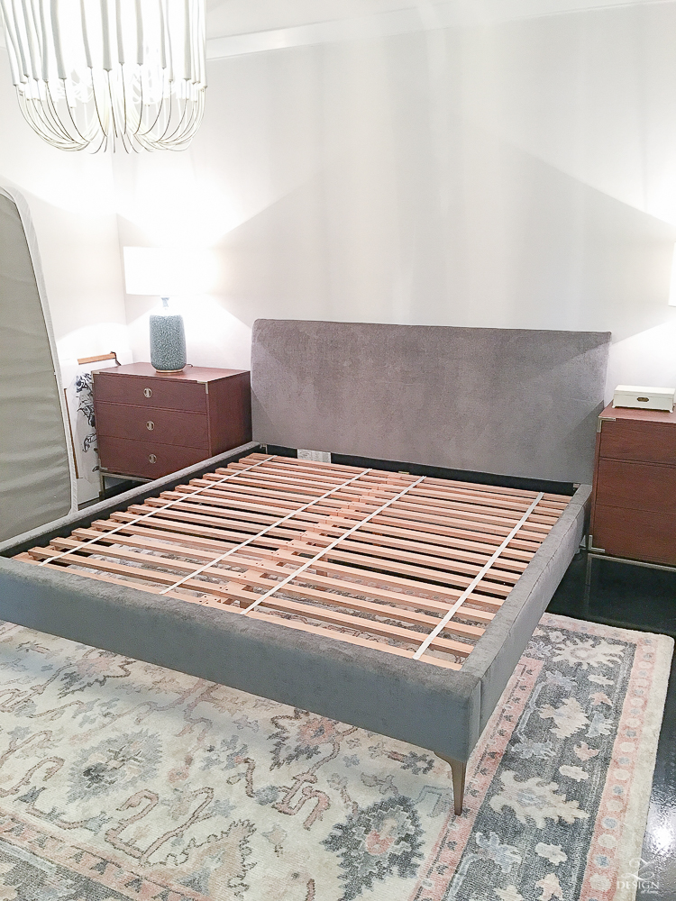 Andes upholstered bed while being put together - slats/support shown