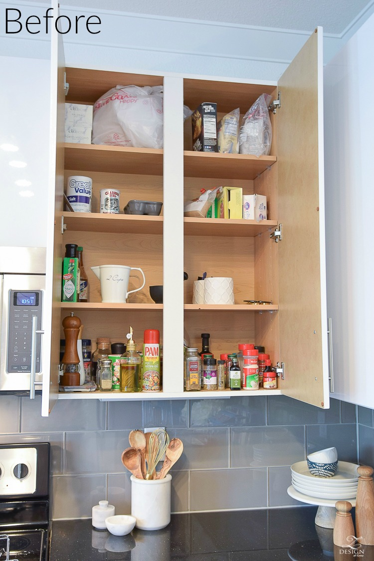 Before - practical solutions for getting and staying organized in the kitchen & spice cabinet disorganized kitten cabinets before how to organize ...