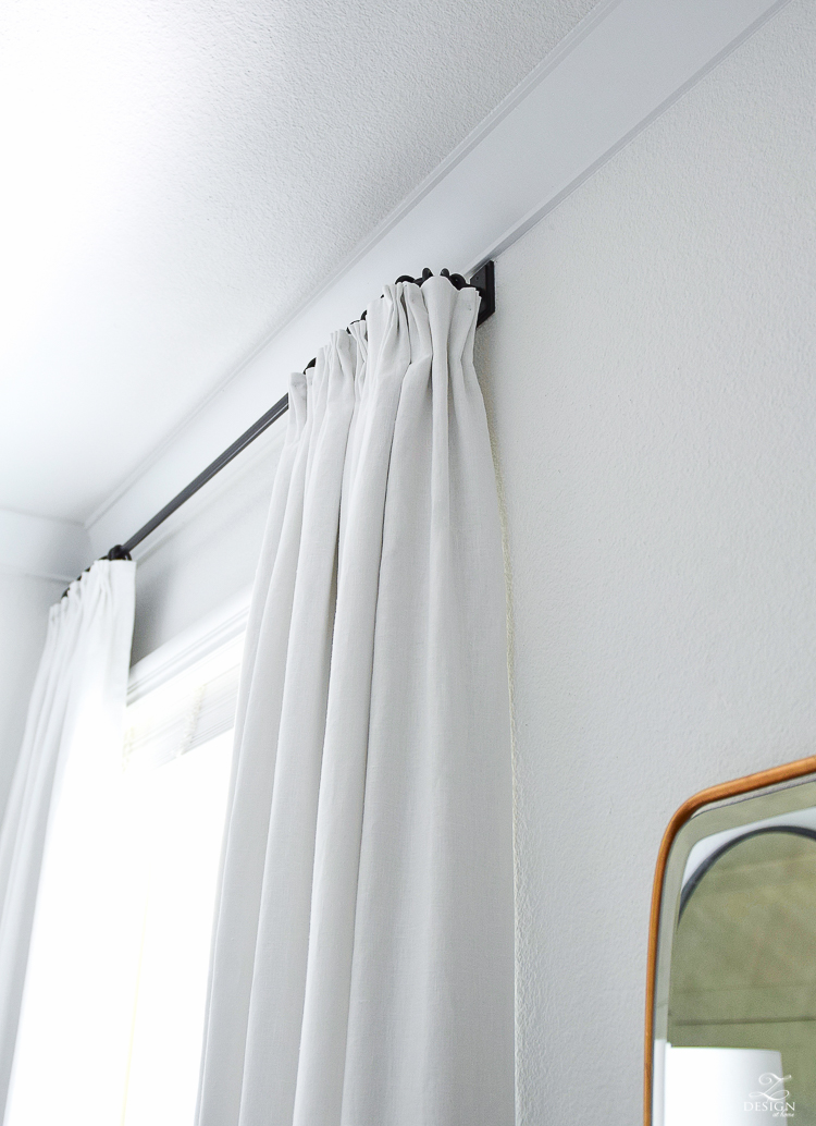 One Room Challenge Master Bedroom Reveal - Custom white linen curtains - ZDesign At Home