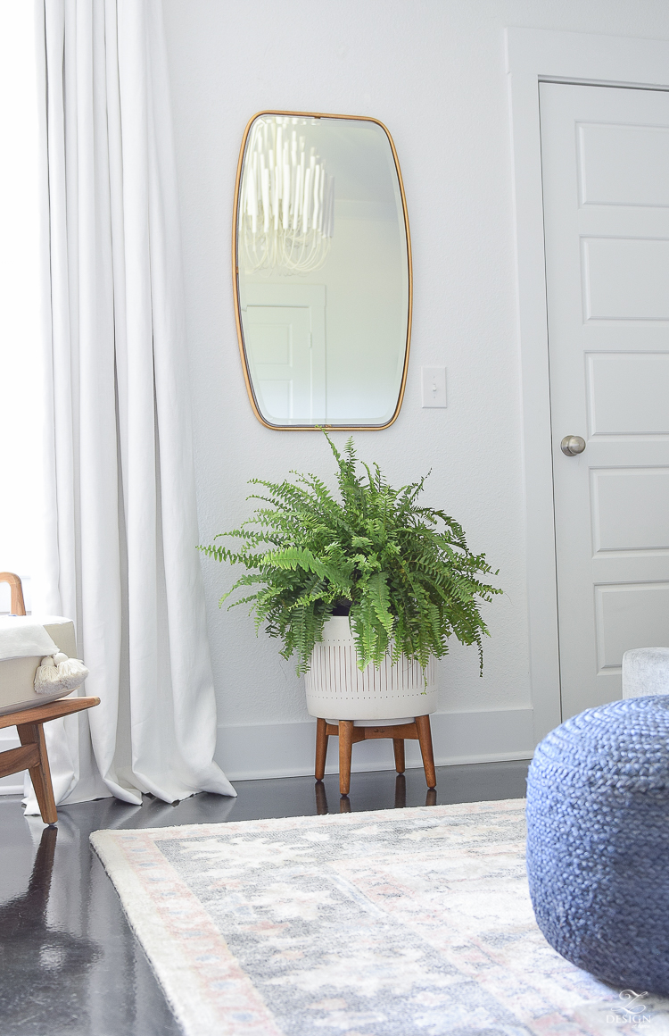 One Room Challenge - Master Bedroom Reveal, Zdesign At Home - Modern gold frame floating mirror