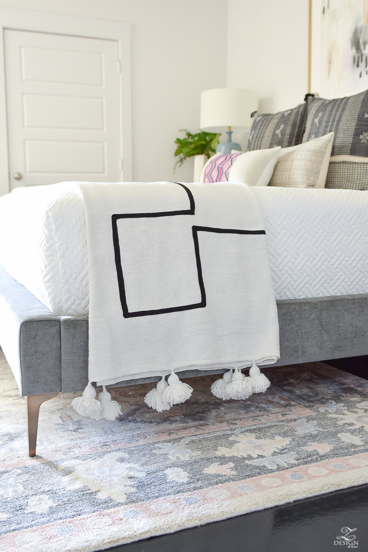 One Room Challenge Master Bedroom Reveal - ZDesign At Home - Moroccan large tassel throw - black and white