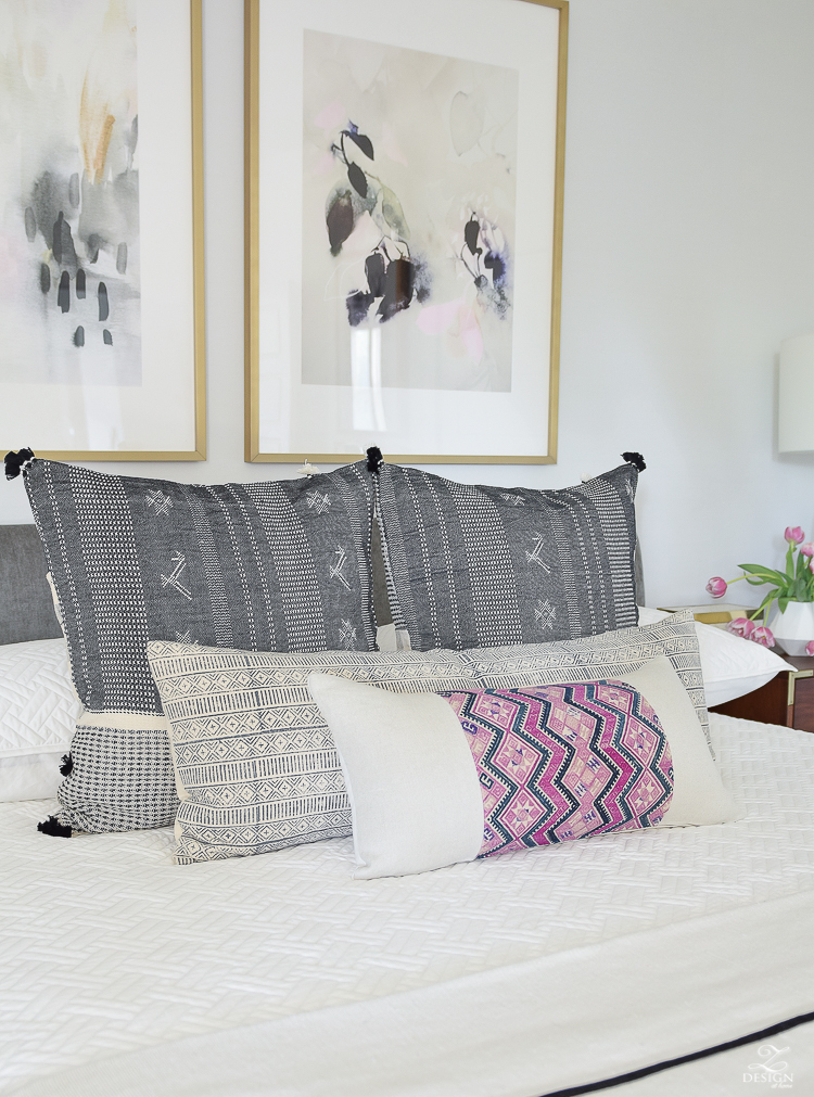 One Room Challenge - Zdesign At Home Master Bedroom Reveal - Boho Glam pillows