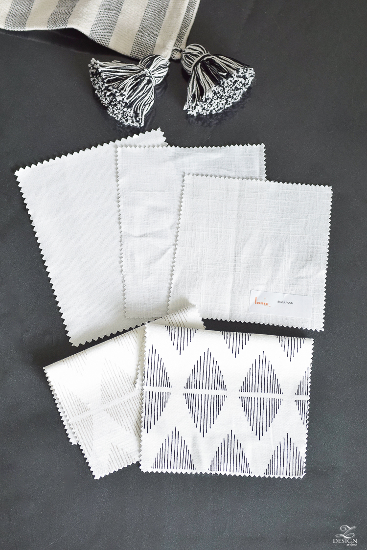 One Room Challenge Curtain fabric swatches