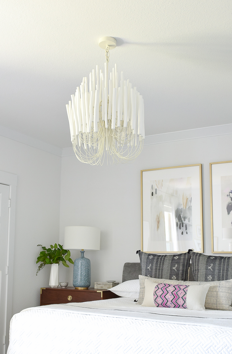 One Room Challenge Master Bedroom Reveal - Zdesign At Home - White Wood Chandelier